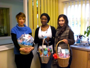 Alex, Bernadette and myself holding the hampers for the young people that Bernadette manages.