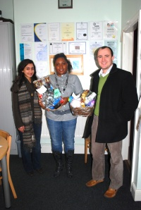 Dominic Fisher and I at the Gillott Road hostel delivering their hampers.