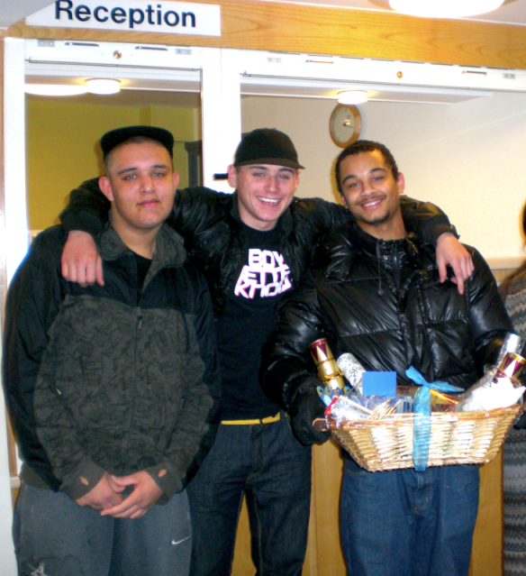 Young boys at Milner Court receive their hamper!